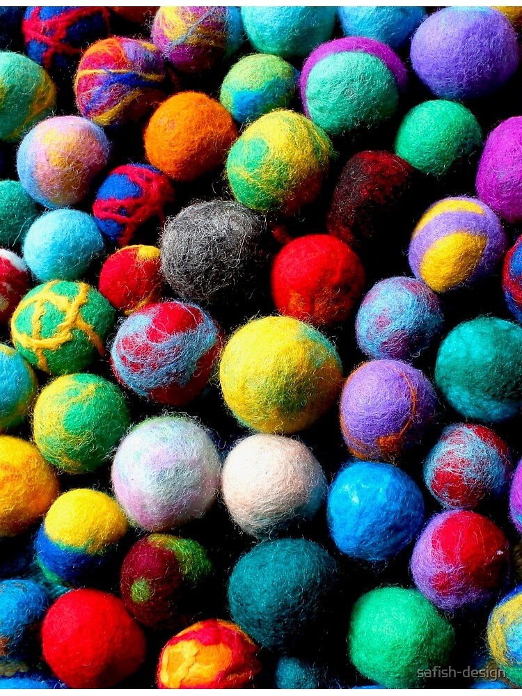 colorful felt balls felted with a school class by safish-design
