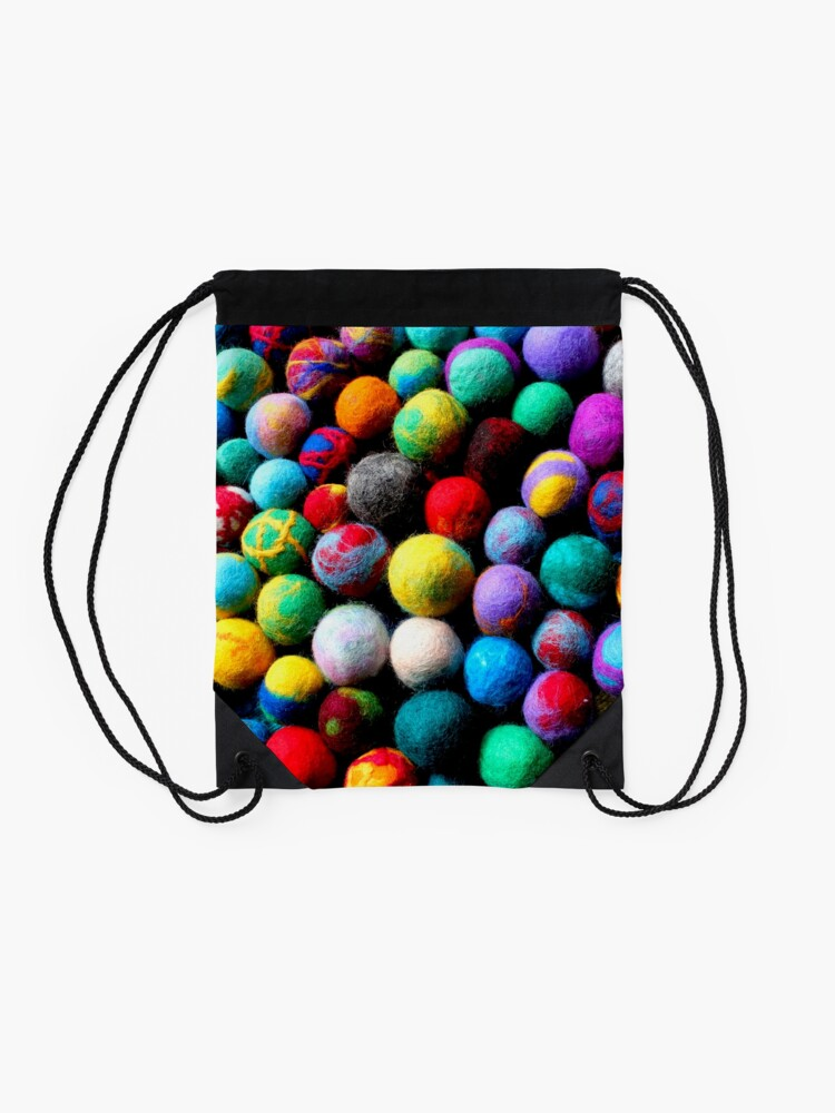 Alternate view of colorful felt balls felted with a school class Drawstring Bag