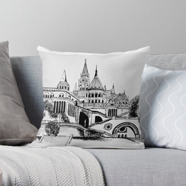Matthias church, Budapest Castle Throw Pillow