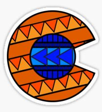Tribal C Flag Broncos Sticker