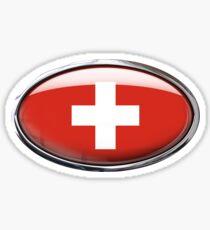 Switzerland Flag Glass Oval Die Cut Sticker Sticker