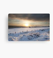 Winter sunset, Otley Chevin Canvas Print