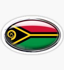 Vanuatu Flag Glass Oval Die Cut Sticker Sticker