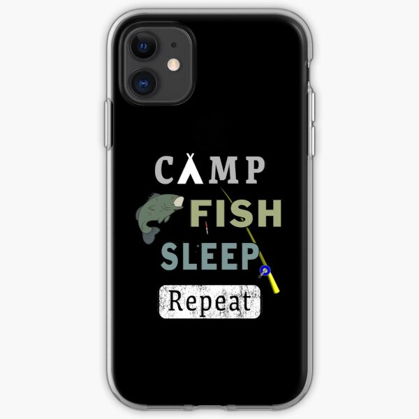 Camp Fish Sleep Repeat Campground Charter Slumber. iPhone Soft Case