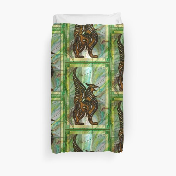Gryphon: stained glass griffin Duvet Cover