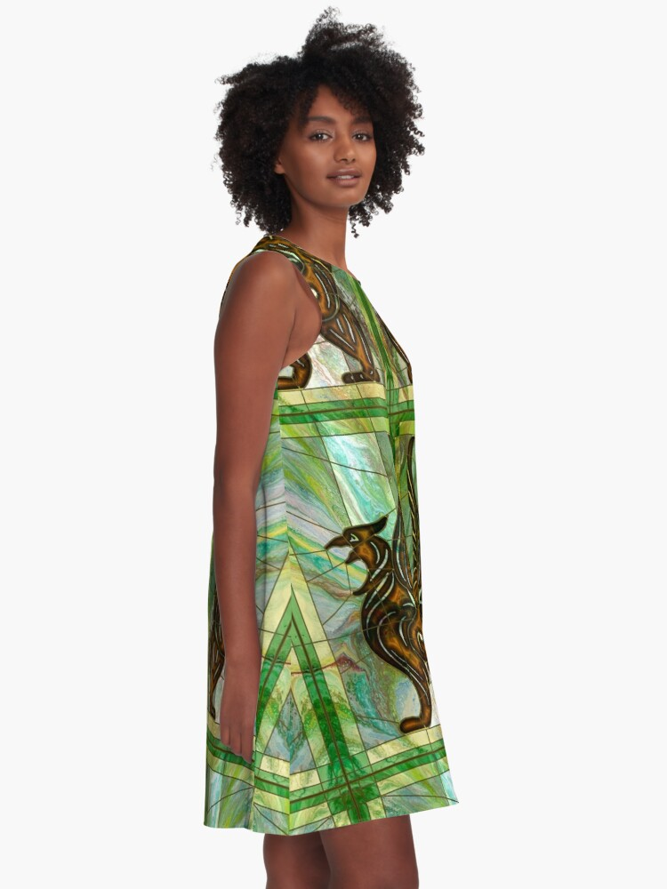 Alternate view of Gryphon: stained glass griffin A-Line Dress