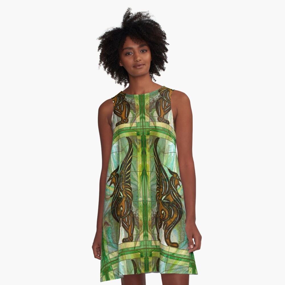 Gryphon: stained glass griffin A-Line Dress