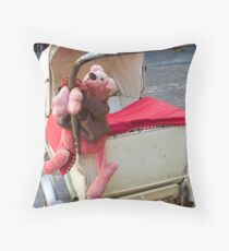 Pink Teddy Bear in Antique Carriage Throw Pillow