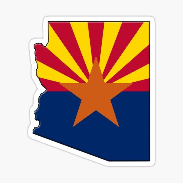 Arizona State Flag & Outline Sticker
