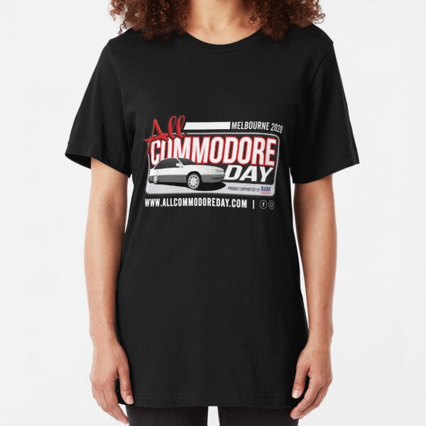 White Text   All Commodore Day MELBOURNE 2020 Slim Fit T-Shirt