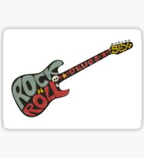 """""""Rock n roll"""" vintage poster. Rock and Roll guitar logo in retro style Sticker"""