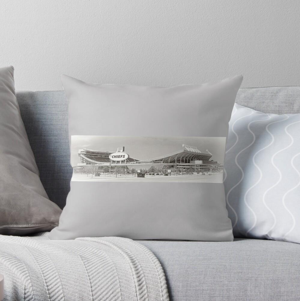 Arrowhead Stadium, Kansas City Chiefs, Tilt-Shift, Black and White Throw Pillow