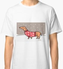 Christmas Dachshund in the Snow Classic T-Shirt