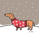 Christmas Dachshund in the Snow by Zoe Lathey