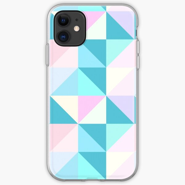 Modern Geometric Pastel Triangles in Pink, Blue and Teal iPhone Soft Case