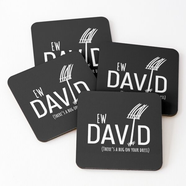 Ew David, There's Bug On Your Dress. Schitt's Creek's David Rose with a Pitch Fork in an Amish Field Coasters (Set of 4)