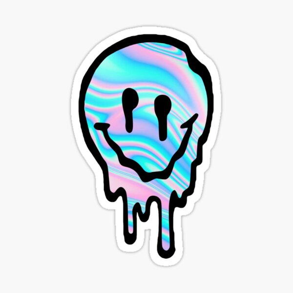 Holographic Drippy Smiley Face Sticker