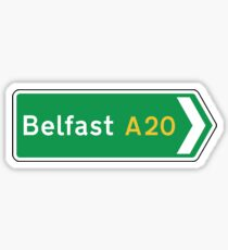 Belfast Road Sign, UK  Sticker