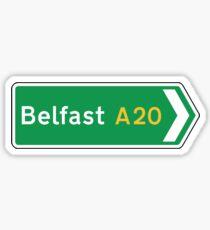 Belfast Road Sign, UK  Sticker