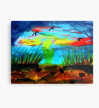 My secret  place to watch a sunset, watercolor Metal Print