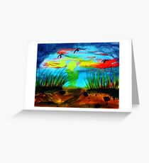 My secret  place to watch a sunset, watercolor Greeting Card