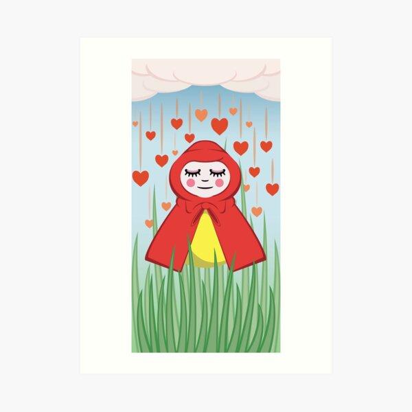 Happy Heart Rain Girl Art Print