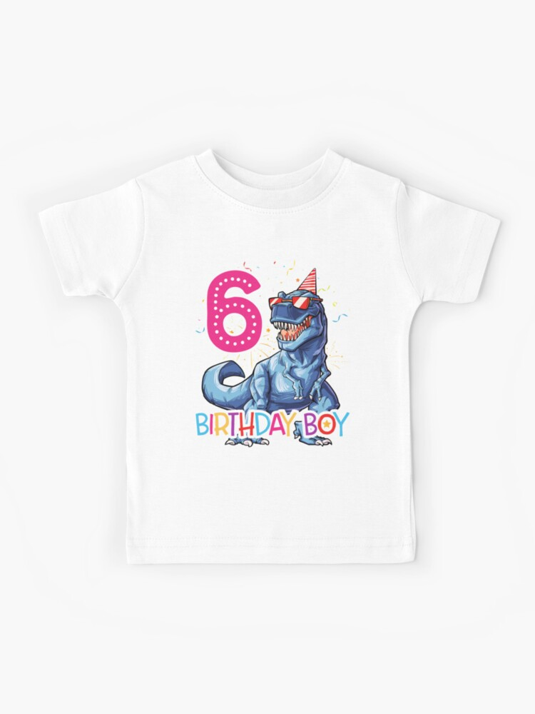 Kids T Rex Dinosaur Race Car 6th Birthday Shirt 6 Years Old