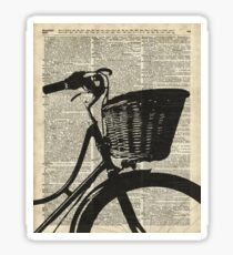 Vintage bicycle Dictionary Art Sticker