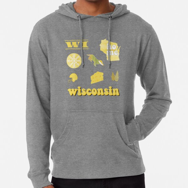 Light Yellow Watercolor Wisconsin US State Pack Lightweight Hoodie