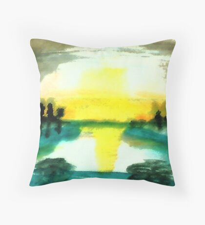 Reflection on the water, watercolor Throw Pillow