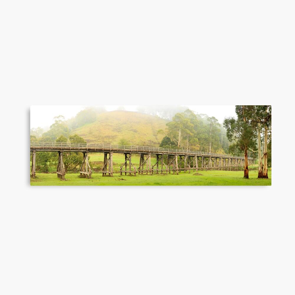 Foggy Trestle Bridge, Timboon, Victoria, Australia Canvas Print