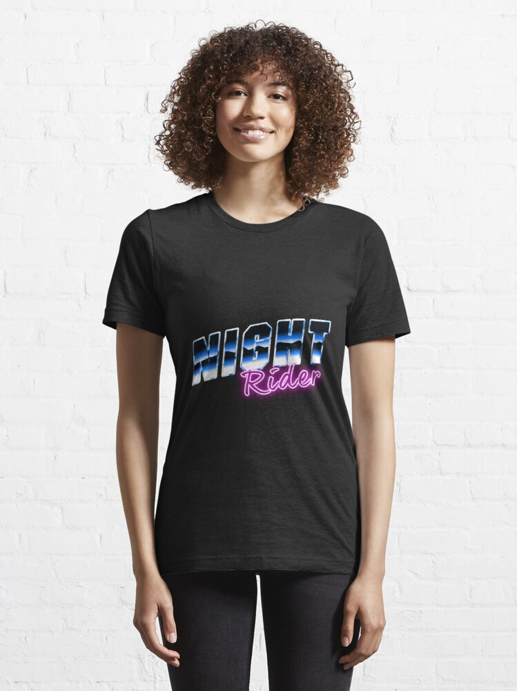 Alternate view of Night Rider - Cyberpunk Style Art New Retro Wave Inspired Essential T-Shirt