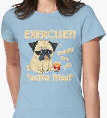 Camiseta entallada para mujer Pug con papas extra