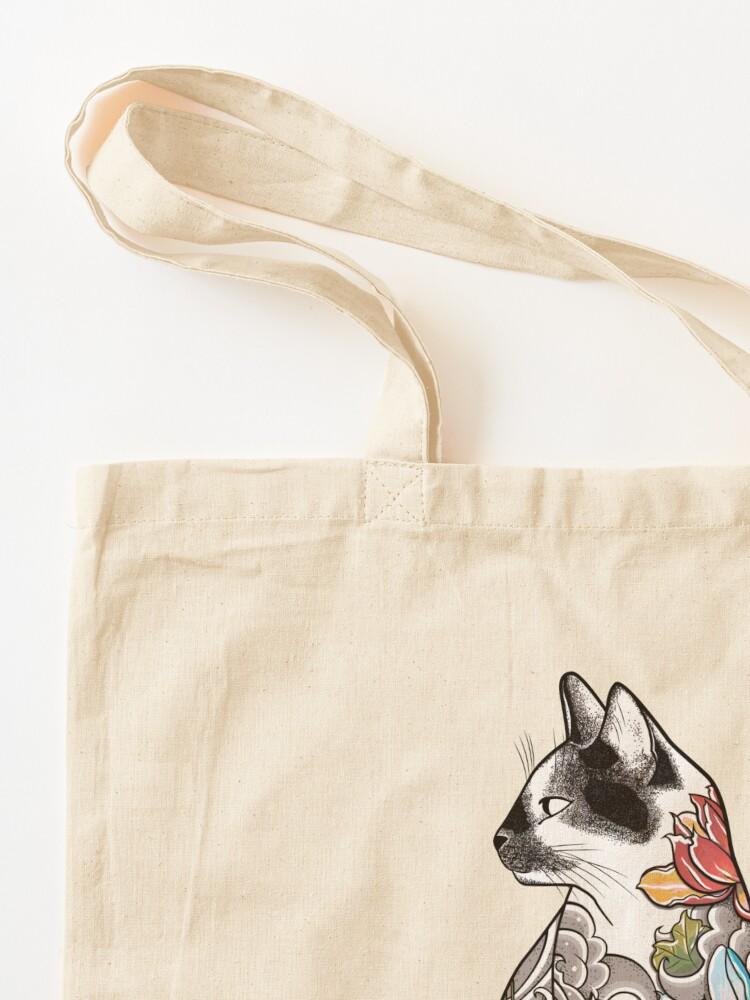 Alternate view of Cat in Lotus Tattoo Tote Bag