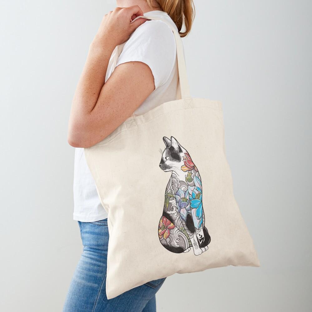 Cat in Lotus Tattoo Tote Bag