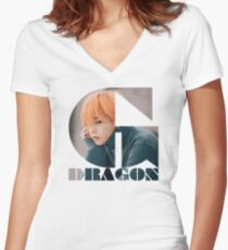 BIGBANG G-DRAGON MADE Series Typography Women's Fitted V-Neck T-Shirt