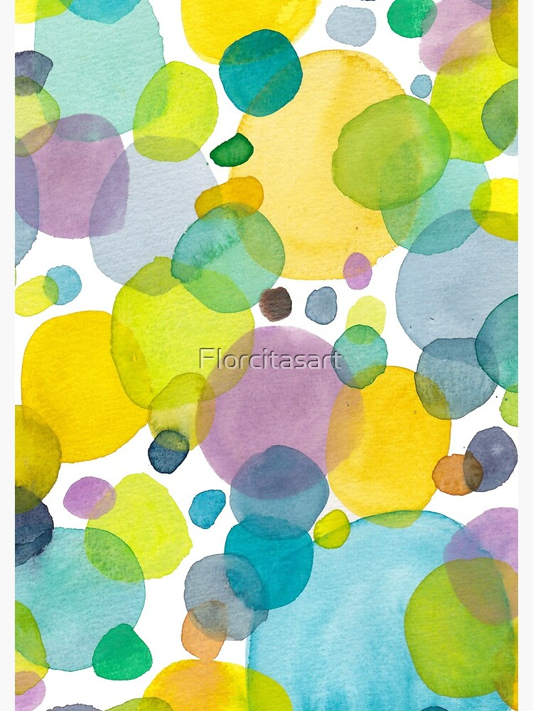 watercolor green bubbles spring pattern by Florcitasart