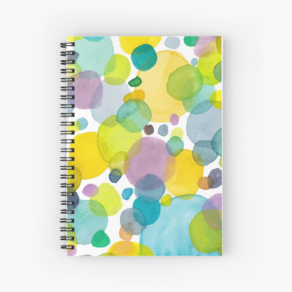 watercolor green bubbles spring pattern Spiral Notebook