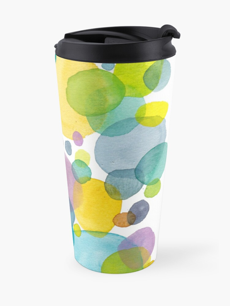 Alternate view of watercolor green bubbles spring pattern Travel Mug