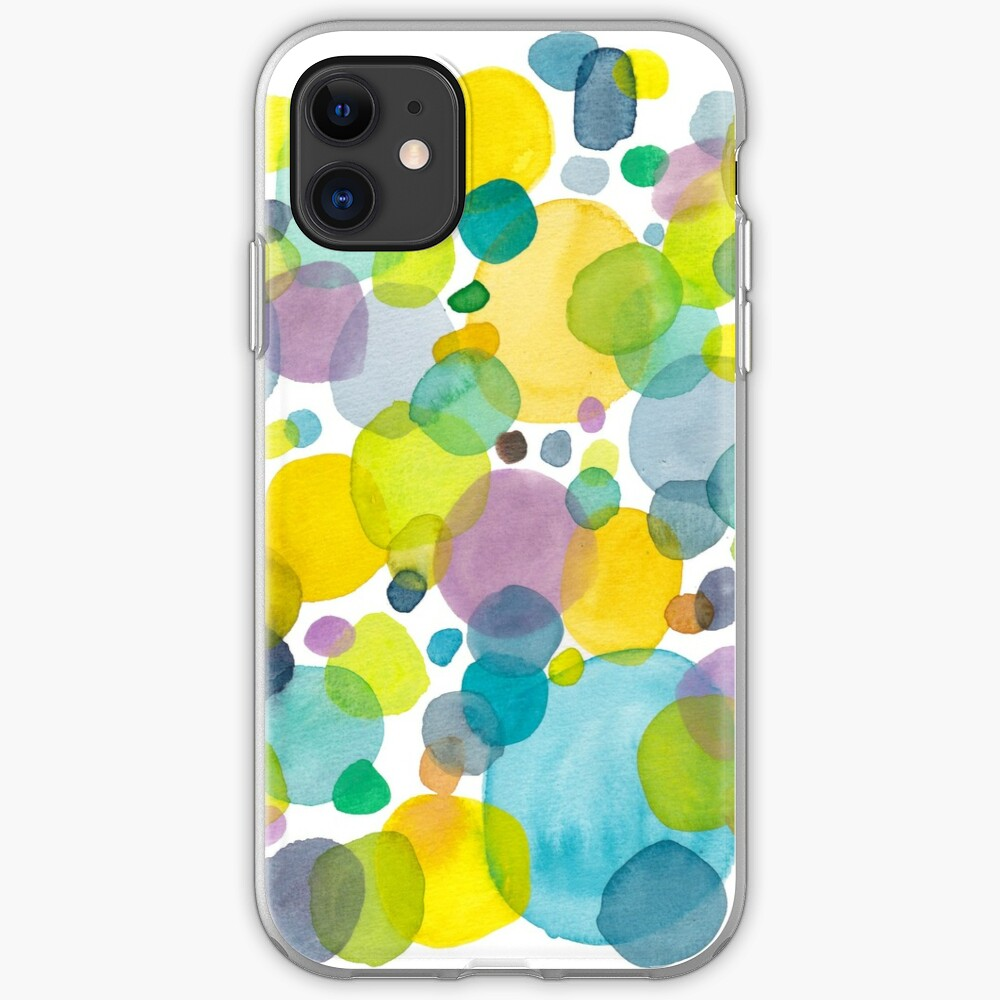 watercolor green bubbles spring pattern iPhone Case & Cover