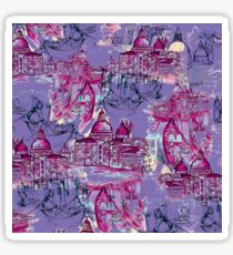 Venetian Toile, Purple.  Sticker