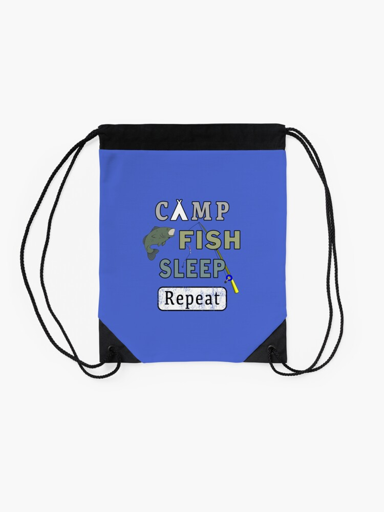 Alternate view of Camp Fish Sleep Repeat Campground Charter Slumber. Drawstring Bag
