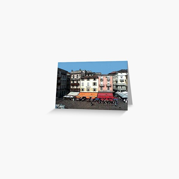 """Shops - Lugano, Switzerland"" Greeting Card"