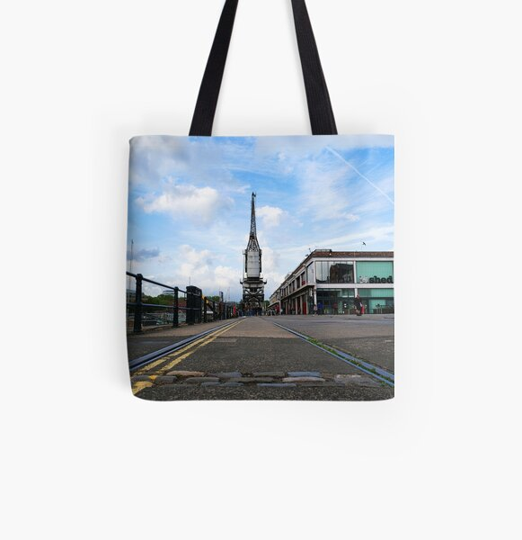 Dog view of Electric crane at Bristol Harbour, England, UK All Over Print Tote Bag