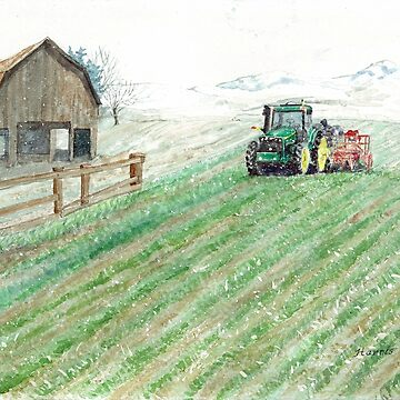 Tractor, Barn & Snow by clotheslineart