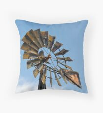 Dark Midwestern Windmill Throw Pillow
