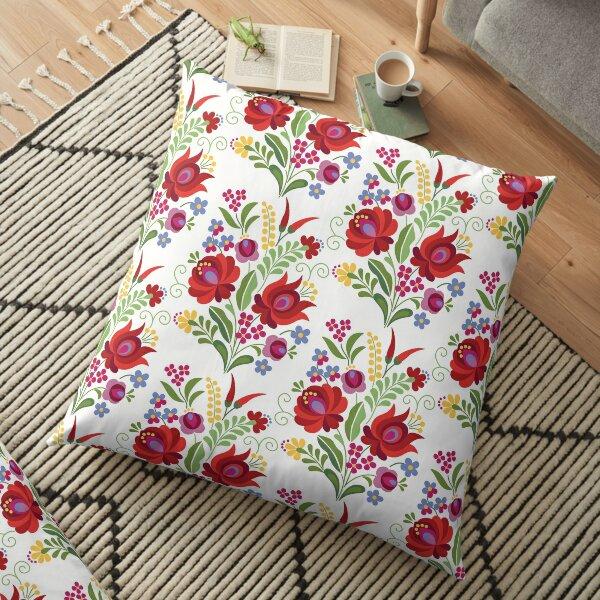 Hungarian Folk Design Red Peppers on White Floor Pillow