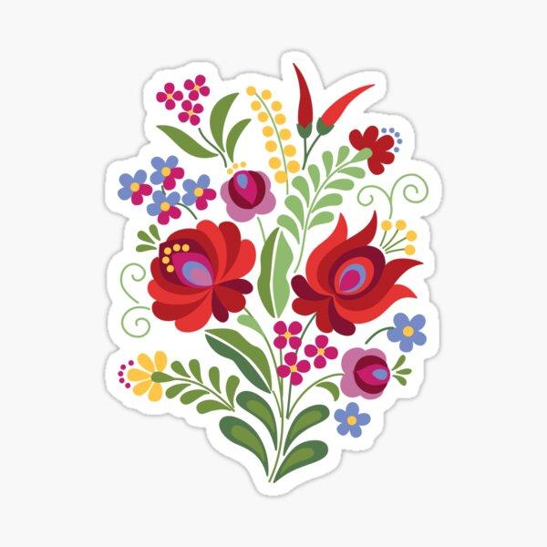 Hungarian Folk Design Red Peppers on White Sticker