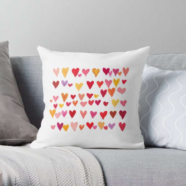 Watercolor hearts. Valentine's Day.  Throw Pillow