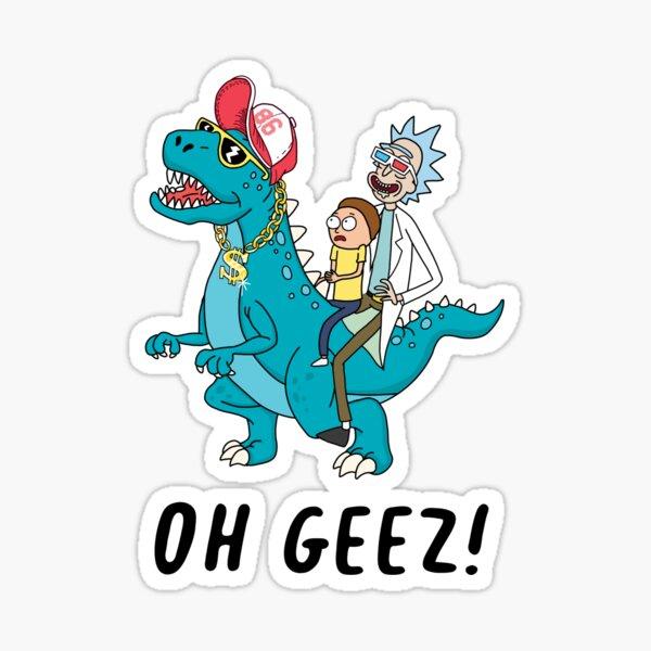 Rick and Morty riding dinosaur Sticker